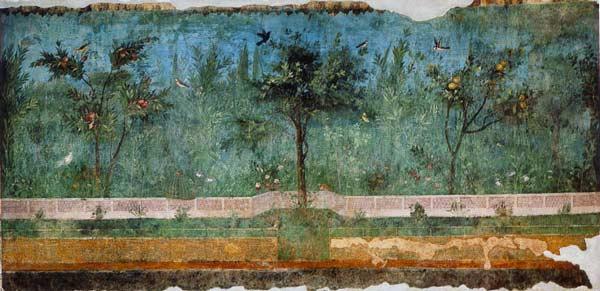 Fresque romaine illustrée d'un jardin engazonné, une pièce d'histoire