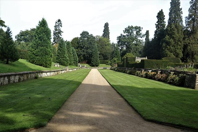 Jardin dédié à la promenade avec un beau gazon