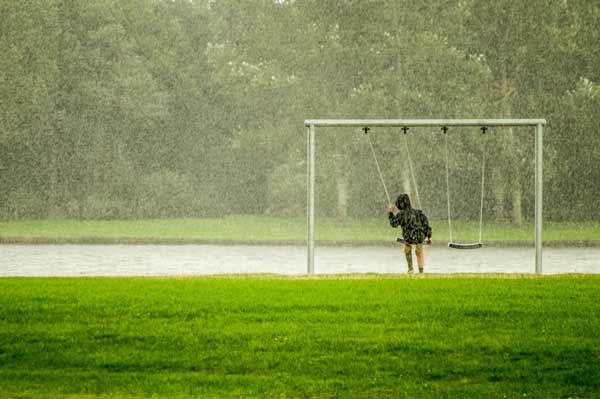 Gazon détrempé par la pluie